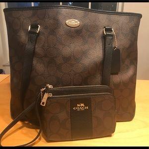 Coach handbag and wristlet